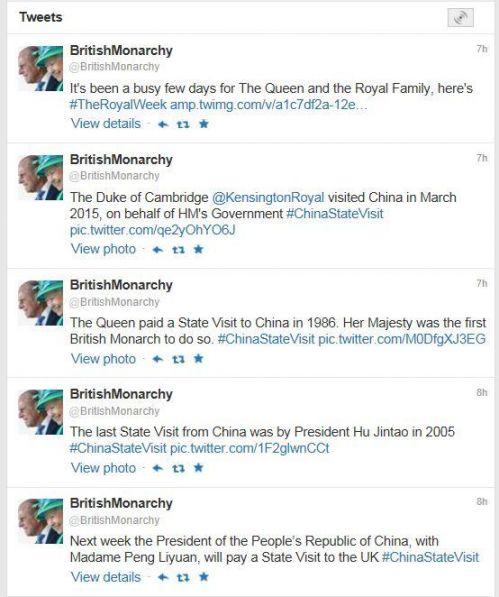 当地时间10月16日,英国女王伊丽莎白二世的官方推特连发五条推文和图,欢迎习主席和夫人下周访英。